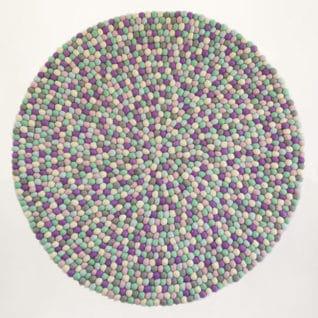 Rundt kugletæppe i pastel farver